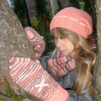 Girls Hat and Scarf Winter Set and Glove/ Knitted Set for Girls/ Kids Knit Hat/ Kids Knit Scraft