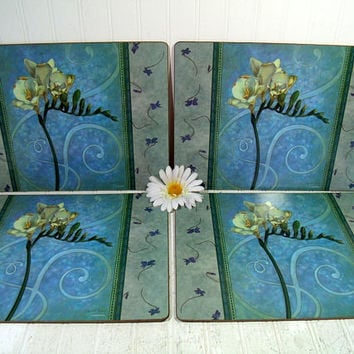 Realistic Gladiolus Flowers & Boho Blue Placemats Set of 4 Large Laminated Cork Board Mats by Pimpernel, Shabby Chic Cottage Decor Tableware
