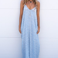 Cayon Ranch Textured Maxi Dress- Baby Blue