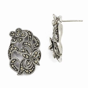Sterling Silver Marcasite Flower and Butterfly Post Earrings