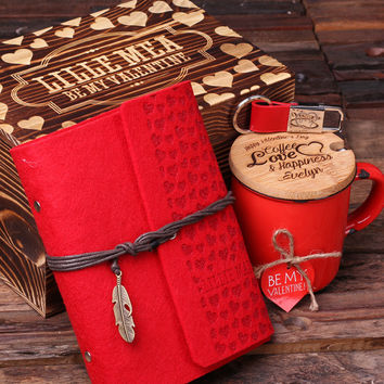 Personalized Valentines Day 4pc Gift Set with Mug Journal Key Chain and Wood Gift Box