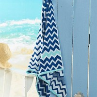 Navy Reversible Cotton Chevron Beach Towel Absorbent Soft Bath Towel Pool