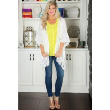 Come Away With Me Cardigan-White