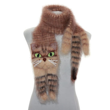 Knitted Scarf  / animal scarf /  tabby cat / Fuzzy  Brown beige  Soft Scarf / Pet portrait / cat scarf / knit cat scarf / animal scarf