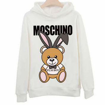 Moschino autumn and winter classic bear print loose hooded couple hooded sweater White