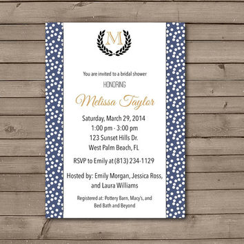 Wreath Monogram Bridal Shower Invitations