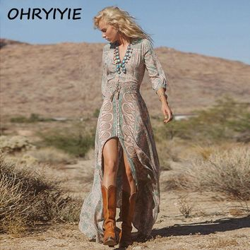 OHRYIYIE Women Summer Boho Bohemian Dress 2017 Fashion Causal Long Sleeve Beach Dress Floral Split Front Slit Long Maxi Sundress