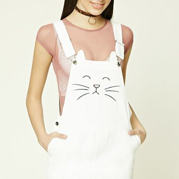 Embroidered Cat Overall Dress
