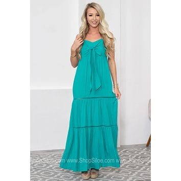 Bow Tie Adjustable Strap Maxi Dress