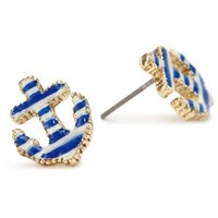 Amazon.com: Betsey Johnson Striped Anchor Stud Earrings: Jewelry
