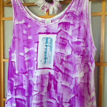 Handmade Hawaiian - Cotton Tunic Top - Plus Size Tunic - Hawaiian Shirt - Maternity Top - Cotton Tunic -  Hand Painted T shirt - Kauai