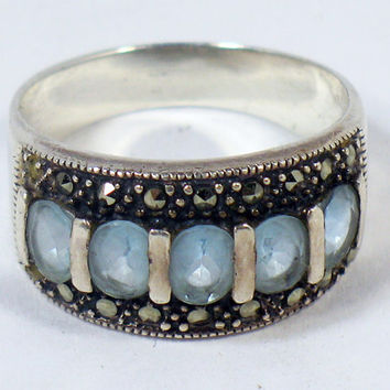 Marcasite Silver Ring with Light Blue Crystals, Size 10.5/11