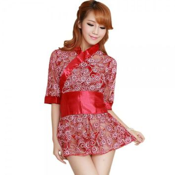 Women's Fashionable Sexy Kimono Style Sleep Dress Set Red