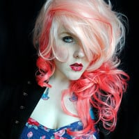 SALE Pink wig . Curly Long Pink wig . Pastel wig, cosplay wig, scene wig . sexy pin up style // Peaches and Cream