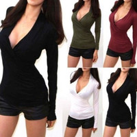 Sexy V-Neck Low Cut Wrap Criss Cross Long Sleeve Slim Fit Tee Shirt Tops Blouse = 1828188484