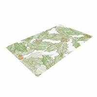 """Jennifer Rizzo """"Vintage Sketched Holly"""" Green White Pattern Woven Area Rug"""