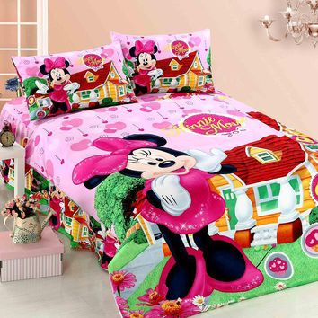 New Minnie Mouse cartoon bedding sets Girls Kids bedroom decor single twin size bed sheets quilt duvet cover 3pcs no filler pink
