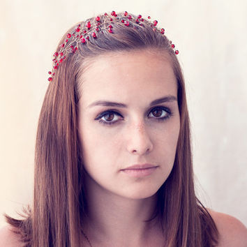 Red wedding crown, Crystals hair accessory, red tiara, Crystals crown, Gold headband, Bridal hair accessories, Vine headband. Twigs crown.