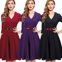 Spring Autumn Fashion Vintage Elegant Women A-Line Dress Casual V Neck Solid Swing Contrast Buttons