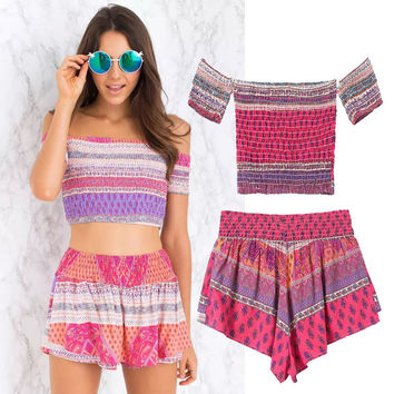 Women's Fashion Gradient Print Beach Shorts Set [4918988164]
