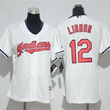 Women's Cleveland Indians #12 Francisco Lindor Cool Base Player Jersey