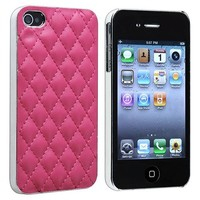 Snap-on Case compatible with Apple iPhone 4 / 4S, Pink Leather with Silver Side