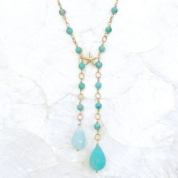 Double Drop Turquoise & Peruvian Blue Opal Necklace