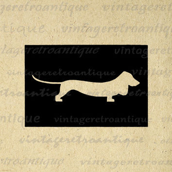 Printable Dachshund Dog Silhouette Image Digital Weiner Dog Graphic Download Vintage Clip Art for Transfers etc HQ 300dpi No.3332