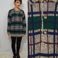 90s Plaid Sweater Mens XL Large Oversize Soft Grunge PreppyHipster Vintage Clothing Women Unisex Collared Pullover Knit Jumper 1990s