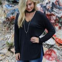Nicki Choker V Neck Top, Charcoal