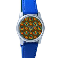 Abstract Tribal Circle Rings Pattern (Brown) Wrist Watch