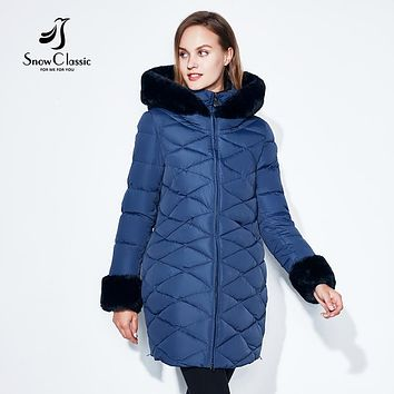 SnowClassic Winter Women Coat Jacket Woman Parka Long Warm High Quality collar/sleeve Winter Brief Coat With Hood 2017New Winter