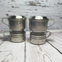 Single Cup Coffee Makers . Set of Two . Coffee Drip o Lator . One Cup Coffee Filter . Vintage Drip-O-Lator . Dripolator . Coffee Makers .