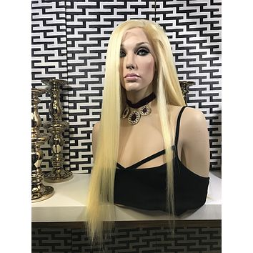 Light Blond HUMAN HAIR lace front wig 18""