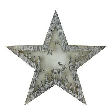 """10"""" Battery Operated LED Lighted Rustic Wooden Star Christmas Decoration - Deer"""