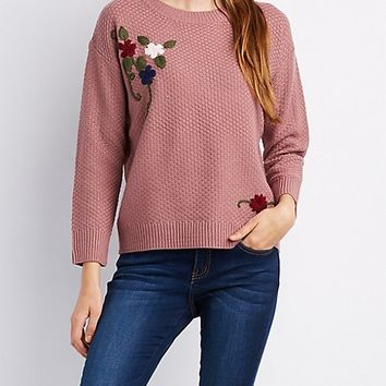Floral Embroidered Pointelle Sweater | Charlotte Russe