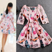 Cometics Printed Chiffon Mini Skater Dress