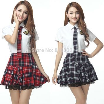 Girl's Sexy High School Sailor Suit Uniform Tops+Skirt Daily/Cosplay Costume S-XXL