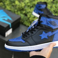 Nike Air Jordan 1 Retro High OG Black Royal Blue Basketball Sneaker