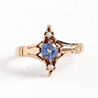Sapphire & Pearl Ring - Vintage Size 6 3/4 10k Rose Gold Navette - Antique 1900s Victorian Three Stone Fine Anniversary .52 CT Gem Jewelry