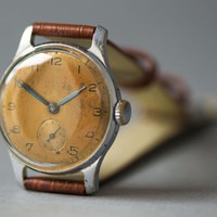 Copper shade men's watch Pobeda mid century Soviet wrist watch minimal design premium leather strap new Christmas gift