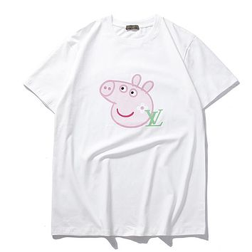 LV X Peppa Pig New Popular Women Men Loose Short Sleeve Pure Cotton T-Shirt Top White I-CP-ZDL-YXC