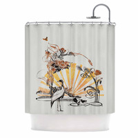 "Federic Levy-Hadida ""Art Nouveau Tune"" Beige Orange Shower Curtain"