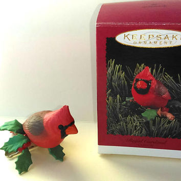 Christmas Sale Vintage Hallmark Clip on Bird Ornament - Red Cardinal Christmas Ornament - Christmas Gift Idea - Vintage Hallmark Ornaments
