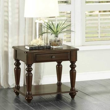 Wooden End Table With A Drawer, Bottom Shelf And Turned Legs, Dark Espresso Brown