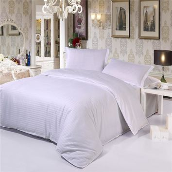 100% Cotton Damask Stripe 3pc/4pc bedding sets(duvet cover+ flat sheet+ pillowcase) twin full queen king Hotel Solid bedsheet