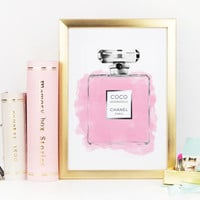 CHANEL PERFUME BOTTLE,Wall Decor Print,Makeup Art,Bathroom Art,Pink Perfume no5,Coco Chanel Illustration,Chanel Wall Art,Gift For Her,Print