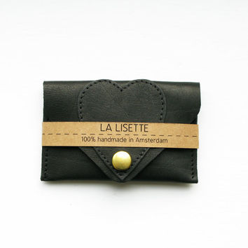 Black Heart Leather Card Case, business card holder, bank card case,