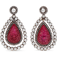 Amrapali - 18-karat gold, silver, ruby and diamond earrings