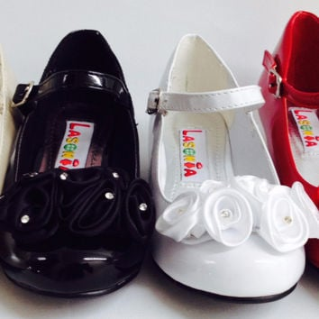 Girls La Sonia G5216 Wedding Pageant Faux Patent Leather Satin Flower Rhinestone Round Toe Heels Shoes